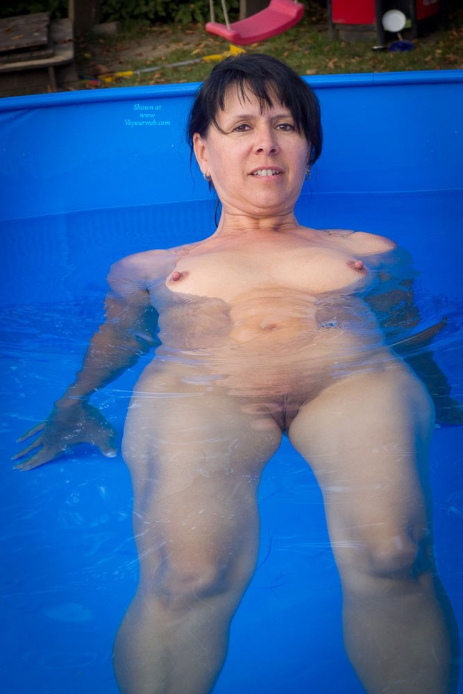 Pic #1 - Pool - Brunette Hair, Hard Nipple, Pussy Lips, Shaved, Small Tits, Wet , This Is Me In A Little Pool In The Garden Of My Friends.