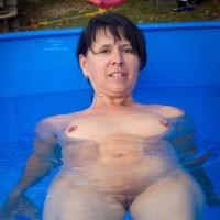 Pool - Brunette Hair, Hard Nipple, Pussy Lips, Shaved, Small Tits, Wet