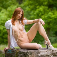 Pearls - Hard Nipple, Heels, Long Legs, Nude In Public, Perfect Tits, Redhead, Sexy Ass , Nicola Posing In A Public Park On A Hidden Podest.