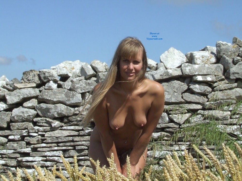 Pic #1 - Outdoors Wearing My Fav Outfit... Nothing !! - Blonde Hair, Hard Nipple, Heels, Navel Piercing, Nude Outdoors, Perfect Tits, Pussy Lips, Beach Voyeur , I Think My Title Says It All....Just Me Outdoors Wearing My Fav Outfits...Little & Nothing..XX