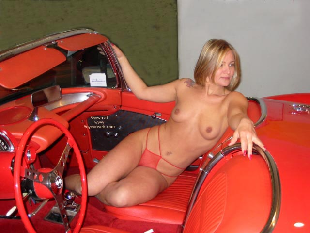 Pic #1 - Topless Blonde - Topless Blonde, Sexy Panties , Topless Blonde, Red Convertable, Red Panties, Naked In Red Hotrod, Topless Blonde In Shear Panties