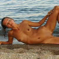 Naughty Beach - Shaved, Brunette, Beach, Beautiful Ass, Firm Ass, Hard Nipples, Long Legs, Natural Tits, Round Ass, Small Tits
