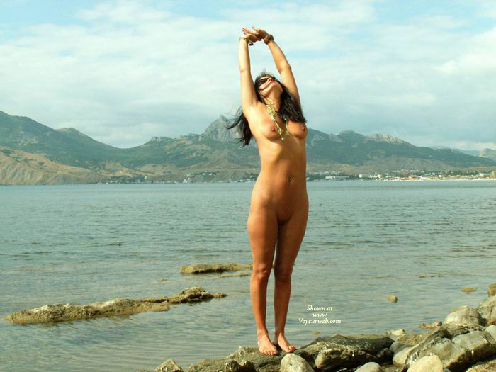 Pic #1 - Nude Girl Stretching At Lakeside - Black Hair, Dark Hair, Long Hair, Shaved Pussy, Naked Girl, Nude Amateur , Long, Full Frontal Nude, Streched Naked, Archback, Naked Beach Stretch, Naked At The Lakeside, Standing In Front Of A Lake