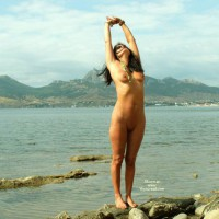 Nude Girl Stretching At Lakeside - Black Hair, Dark Hair, Long Hair, Shaved Pussy, Naked Girl, Nude Amateur