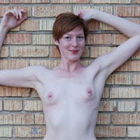 Around Queen City - Exposed In Public, Hairy Bush, Navel Piercing, Nude In Public, Pussy Lips, Redhead, Small Tits