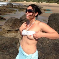 Shy Beach - Beach, Brunette, Dressed, Medium Tits, Natural Tits