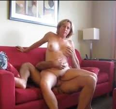 Couch Fun - Big Tits, Blonde, Girl On Guy, Hand Job, Penetration Or Hardcore