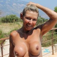 Soaking Up The Sun - Beach, Hard Nipples, Medium Tits, Pussy, Shaved, Tattoos, Wet