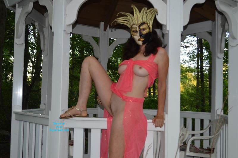Pic #1 - Hot In The Gazebo - Big Tits, Brunette Hair, Hard Nipple, Pussy Lips, Shaved, Wife/Wives, Costume , I Made This Belly Dance Outfit And Was Trying It On To See How It Looked. Thought This Would Make A Nice Costume And A Great Photo Opportunity So I Went Outside Into The Gazebo And Had My Husband Snap These Pics. I Think He Was Getting A Little Aroused And I Hope You Do Too.