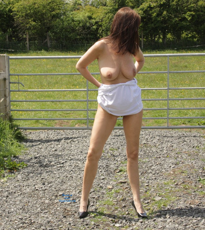 Pic #1 - Outside Pictures Last Weekend - Big Tits, Brunette Hair, Heels, Natural Tits, Nude In Public, Pussy Lips, Shaved , It Was A Nice Warm Day I Love Taking Pictures Outside So Here You Go