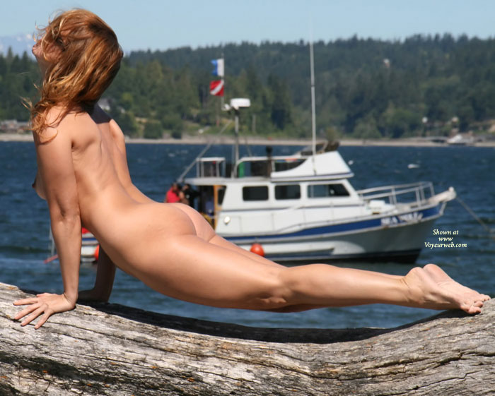 Naked Arched Pose On Driftwood In Public - Exhibitionist, Round Ass, Naked Girl, Nude Amateur , Naked With Boat In Background, Gymnastics By The Bay, Gymanstic Pose On Hands And Toes, Perfectly Proportioned Body, Nice Round Ass And Medium Boobs, Driftwood Nude, Arched Back, Naked On Log By Lake, Outdoors Public Nudity, Naked Push Up On Log By Lake