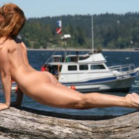 Naked Arched Pose On Driftwood In Public - Exhibitionist, Round Ass, Naked Girl, Nude Amateur