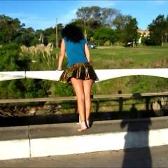 Flying Miniskirt - Brunette, Public Place