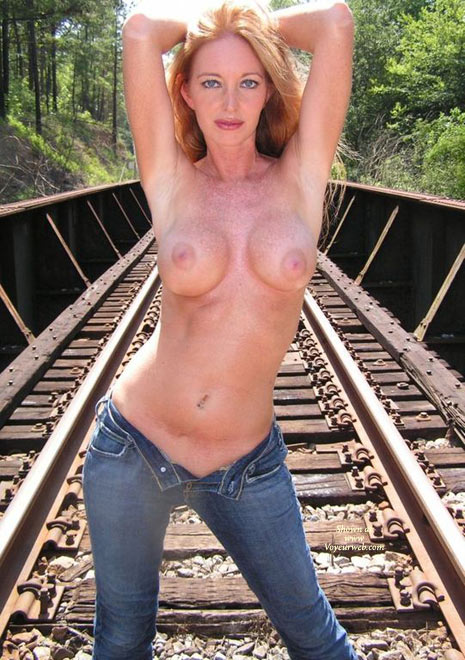 Pic #1 - Unzipped Fly - Blonde Hair, Large Breasts, Topless , Pink Nipples, Standing Pose With Jeans Unzipped, Topless In Jeans, Topless On A Railroad, Blue Jeans, Round Freckled Breasts, Wife Topless Outdoors, Topless Outdoor Standing On Railroad Tracks, Large Freckled Boobs Front And Center, Blue Denim, Strawberry Blonde Hair, Hands Together Behind Red Head, Standing Topless On Train Lines, Small Waist Red Head, Blond Topless On Railroad, Topless Pose