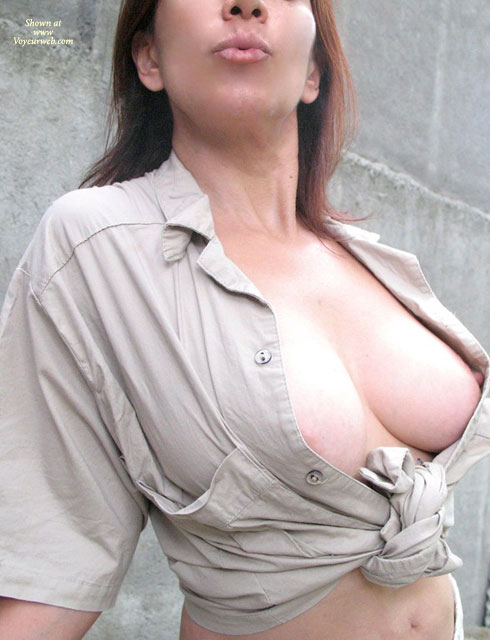 Pic #1 - Open Blouse - Brown Hair, Long Hair, Perky Tits , Top Tied Round Waist, Hard And Pround Nipps, Peek A Boo, Beige Cotton Blouse, Nice Curved Titts, Large Shapely Tits, Titty Flash, Perky Nipple