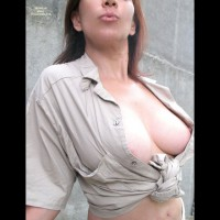 Open Blouse - Brown Hair, Long Hair, Perky Tits