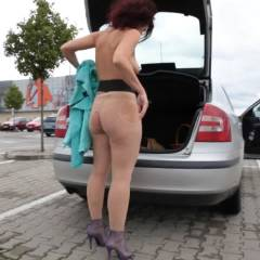 Lena Car Adventure - Public Exhibitionist, Public Place, Shaved