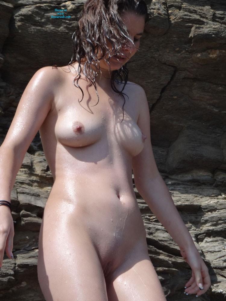 Pic #1 - Rocky Beach Girl - Brunette Hair, Beach Voyeur , Beach Without Sand Can Be Fun To.