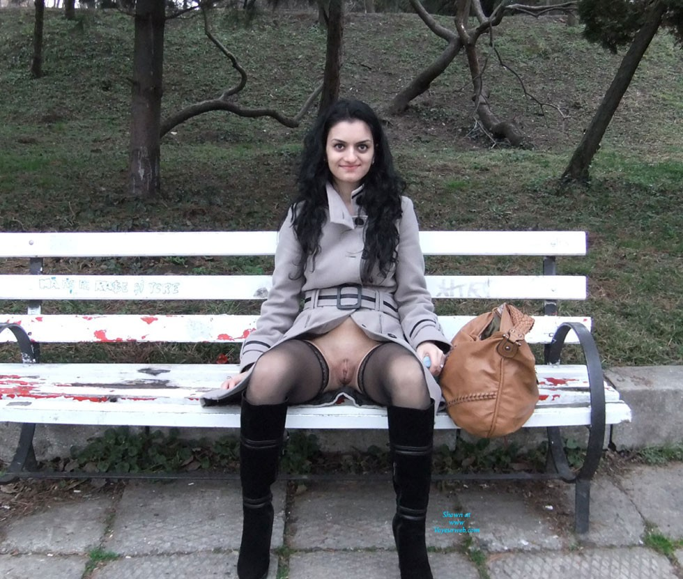 In The Park Part 2 - Brunette Hair, Exposed In Public, Flashing, Heels, Natural Tits, Nude In Public, Perfect Tits, Sexy Lingerie