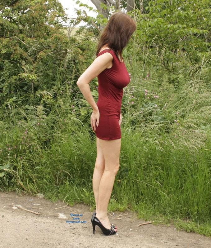 Pic #1 Sarah Outside Again - Big Tits, High Heels Amateurs, Public Exhibitionist, Public Place, Shaved