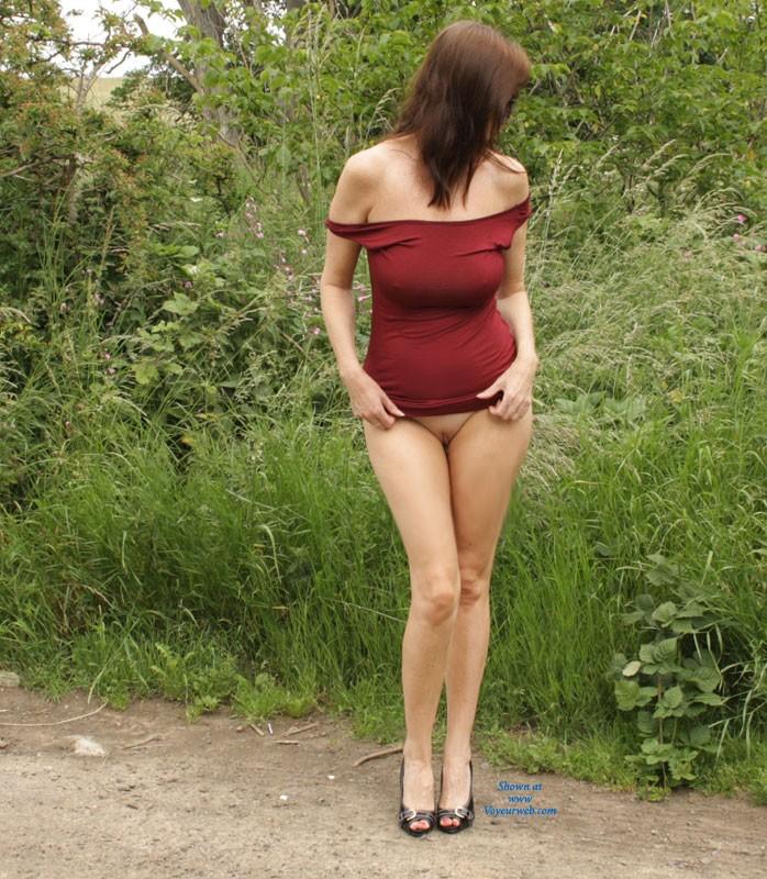 Pic #2 Sarah Outside Again - Big Tits, High Heels Amateurs, Public Exhibitionist, Public Place, Shaved