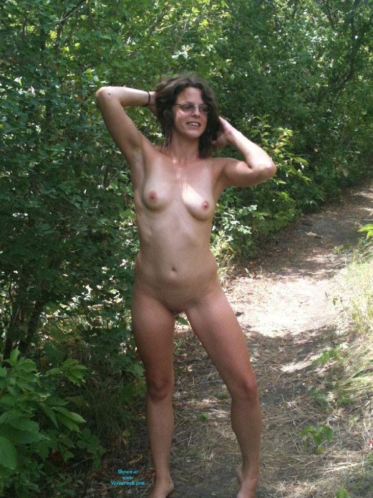 Pic #1 - Naughty Outdoors - Brunette Hair, Natural Tits, Shaved, Strip , We Were On A Hike And She Decided Clothing Was Optional...