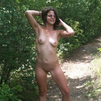 Naughty Outdoors - Brunette Hair, Natural Tits, Shaved, Strip