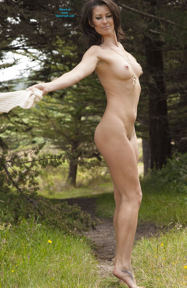 Pic #2 - Naked in The Sun - Brunette, Nature, Beautiful Ass, Firm Ass, Hard Nipples, Round Tits, Shaved