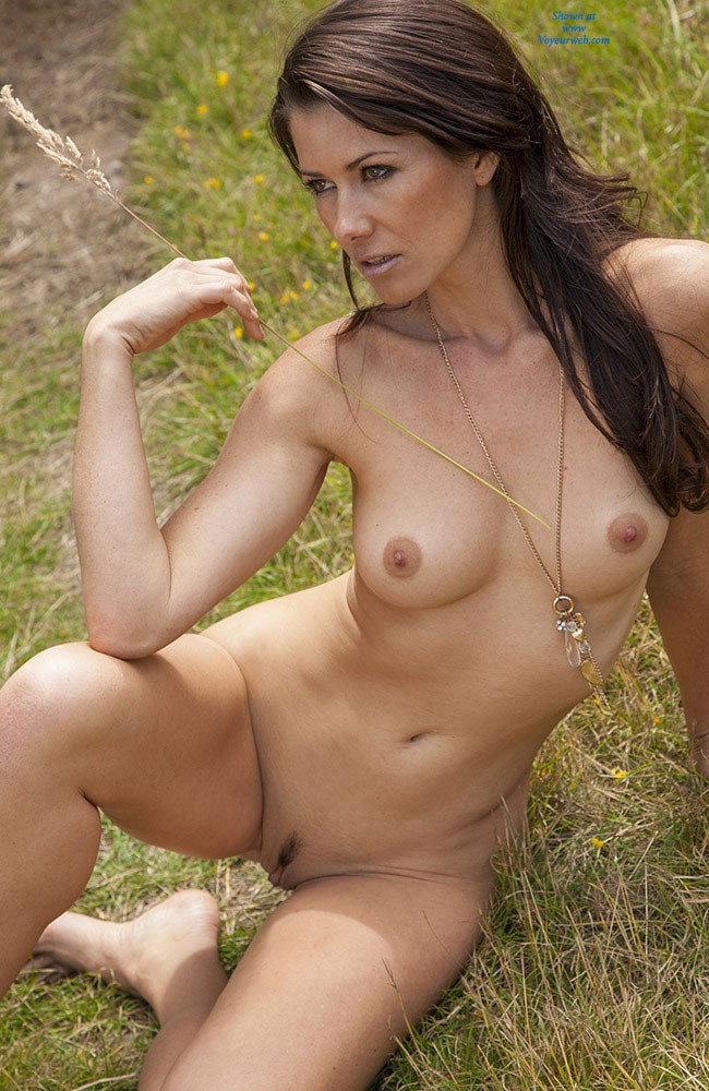 Pic #5 - Naked in The Sun - Brunette, Nature, Beautiful Ass, Firm Ass, Hard Nipples, Round Tits, Shaved