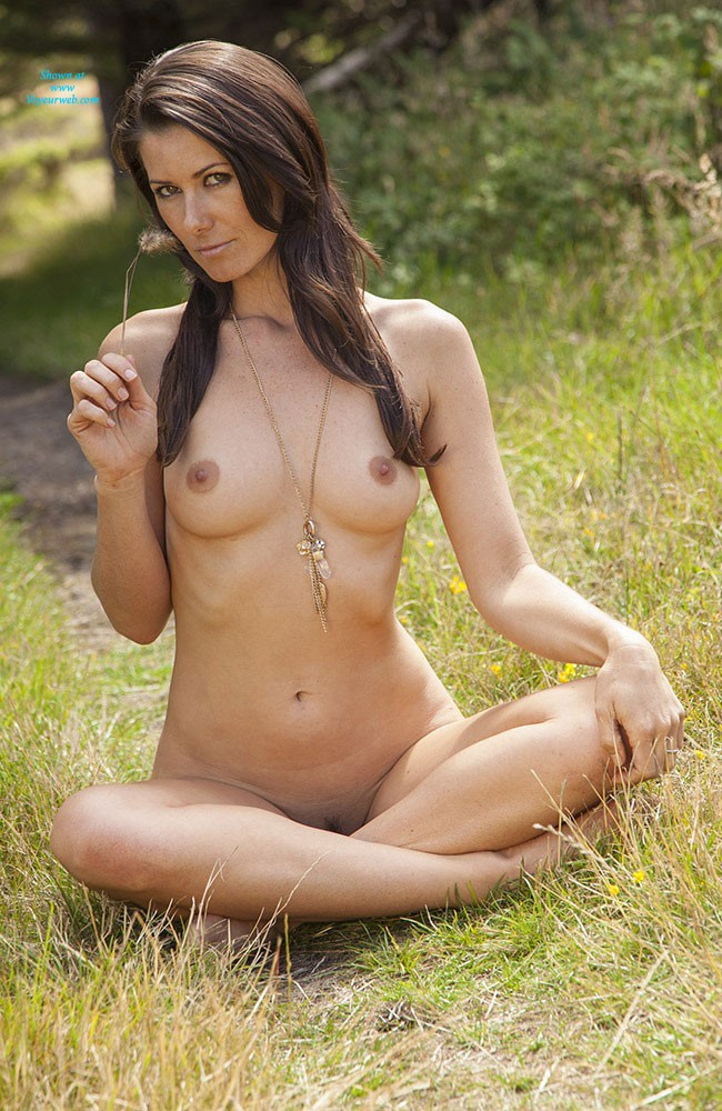 Pic #9 - Naked in The Sun - Brunette, Nature, Beautiful Ass, Firm Ass, Hard Nipples, Round Tits, Shaved