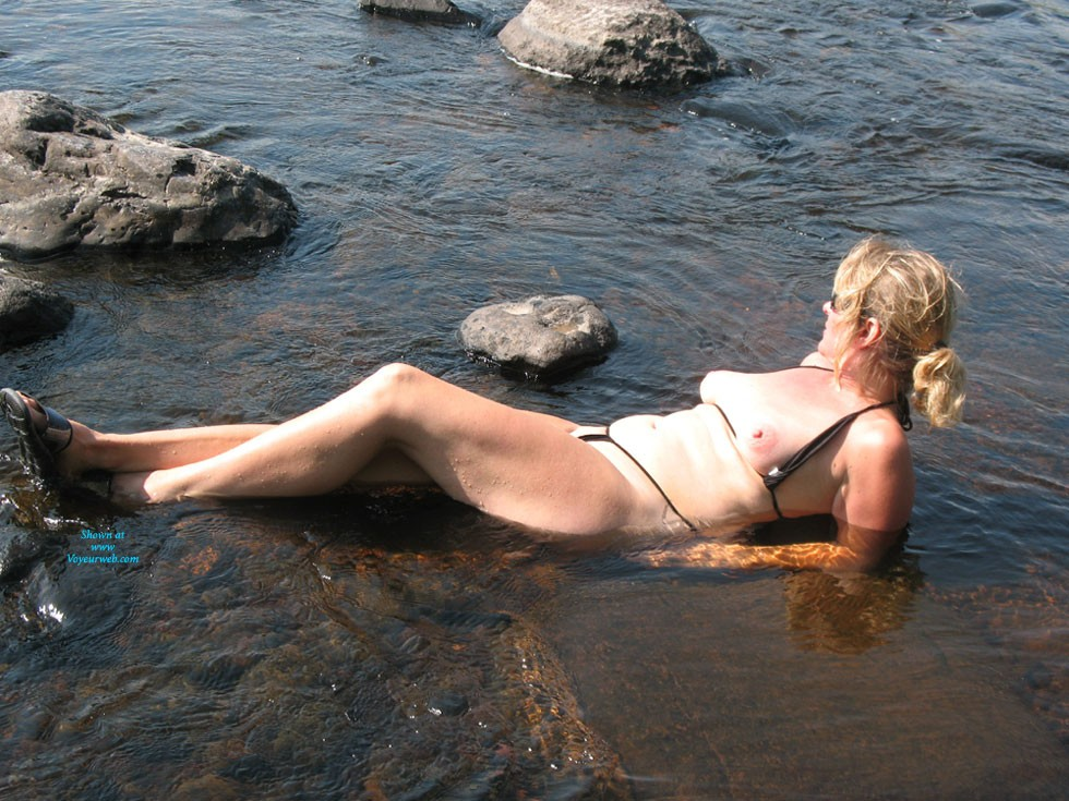 Pic #1 - At The River - Big Tits, Blonde Hair, Mature, Beach Voyeur , She Doesn't Think She Is Still Hot At 46.  Please Prove Her Wrong