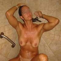 Showering - Brunette, Natural Tits, Wet