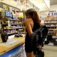 Nina Latina at The Mini Mart - Big Tits, Brunette, Flashing, Latina, Public Exhibitionist, Public Place