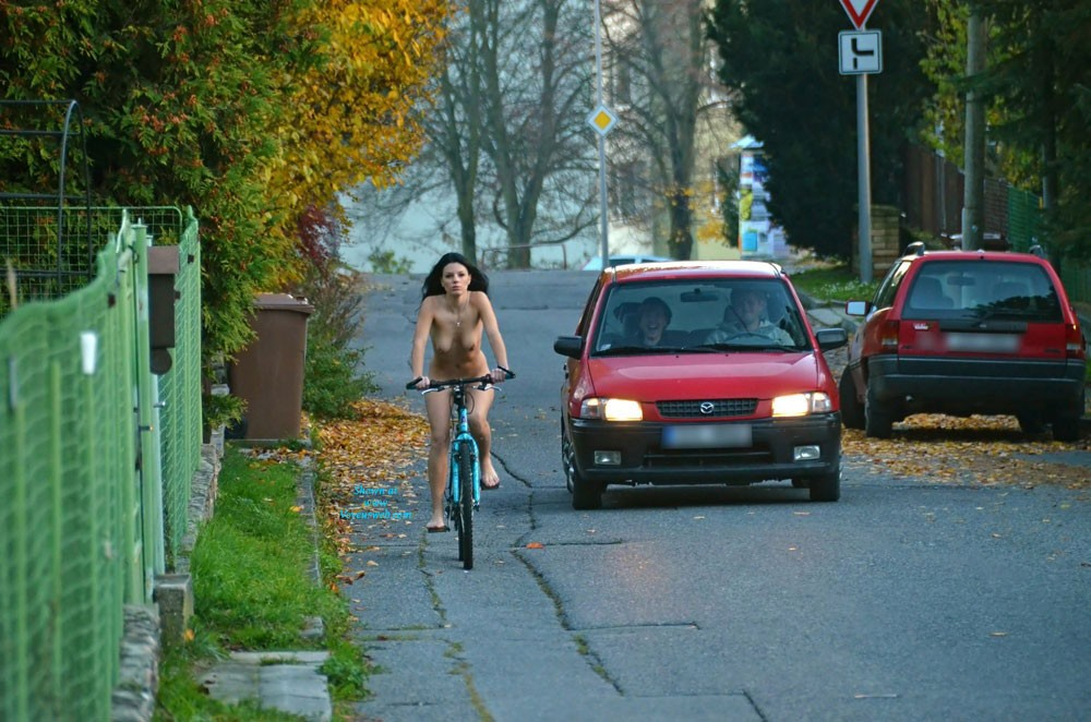 Pic #1 - Nude on Bike - Brunette Hair, Exposed In Public, Nude In Public , And Another Great Theme Of VoyeurWeb ... It's Been Fun To Do ;)