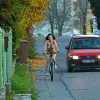 Nude on Bike - Public Place, Public Exhibitionist, Brunette
