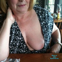 Flashing in a Restaurant - Big Tits, Flashing, Public Exhibitionist, Public Place, Wife/Wives