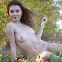 Vivienne Naked in The Sun - Medium Tits, Nature, Shaved