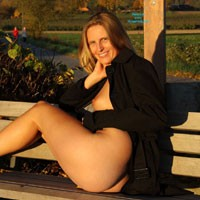 Bri at Autumn Sunset - Blonde, Public Exhibitionist, Public Place, Shaved
