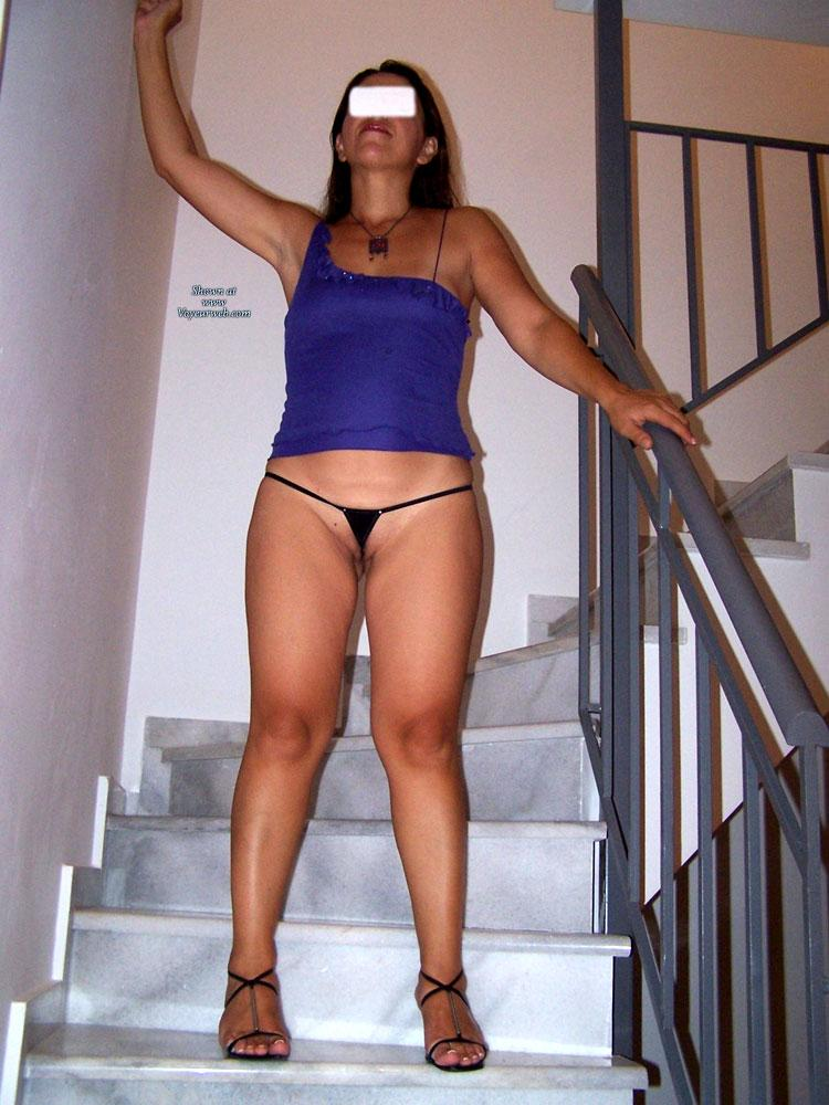 Pic #6 - Micro Thong! - Shaved, Lingerie, Brunette, High Heels Amateurs, Small Tits