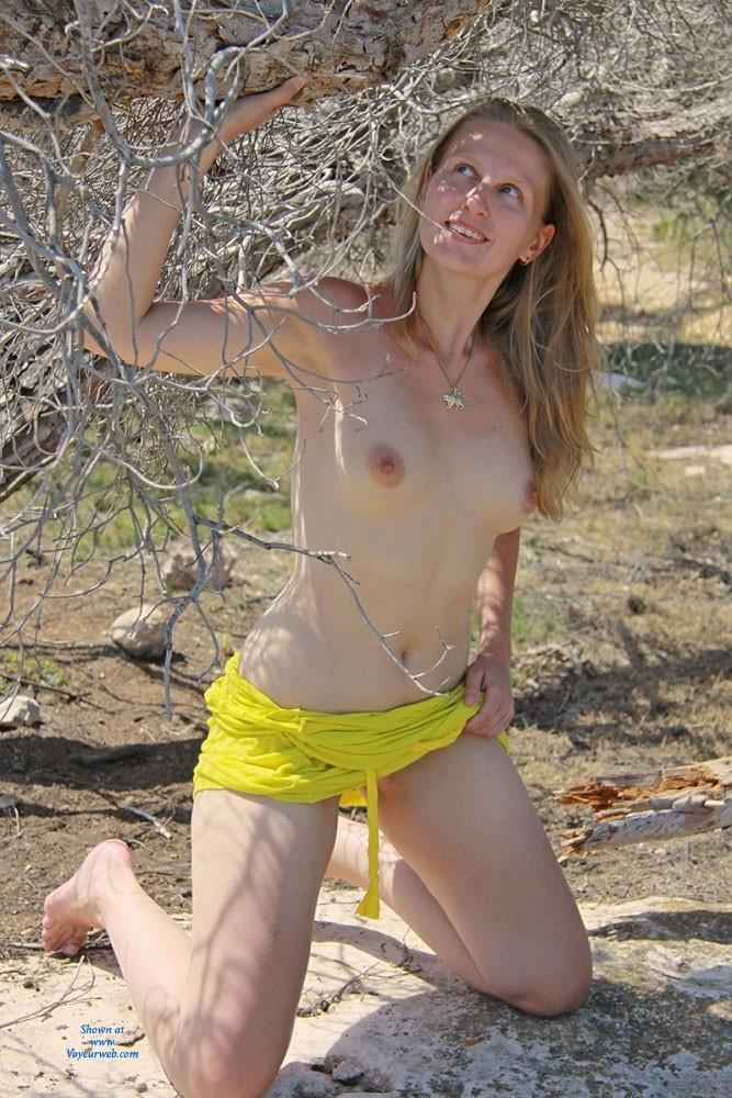 Pic #1 Bri Enjoying Nudity at Portals Vells - Shaved, Medium Tits, Blonde, Beach
