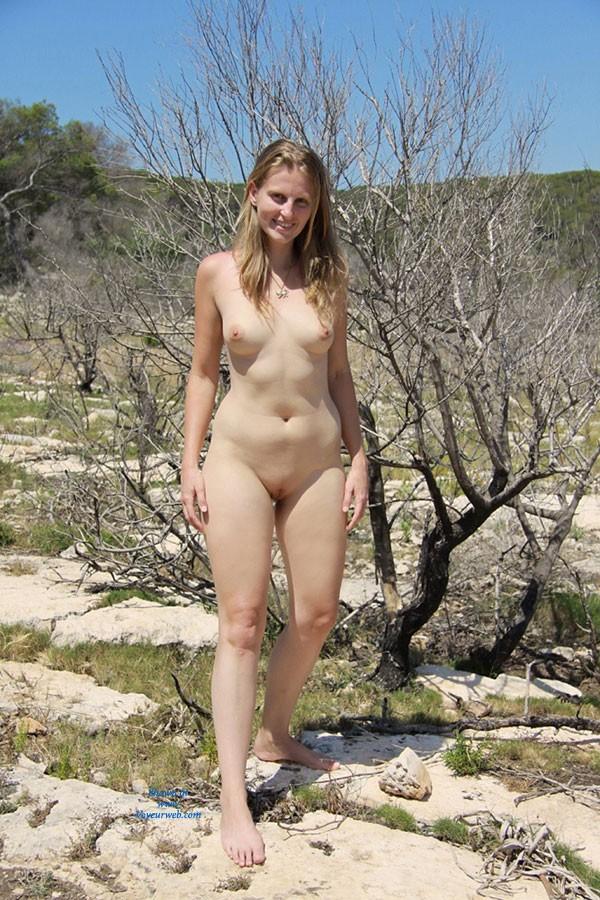 Pic #4 Bri Enjoying Nudity at Portals Vells - Shaved, Medium Tits, Blonde, Beach