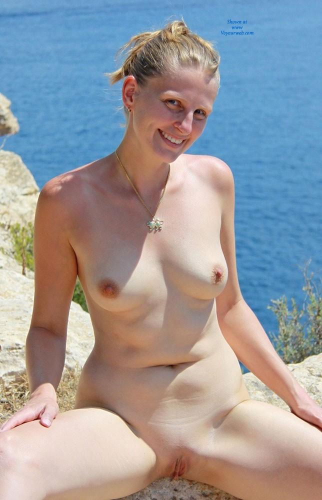 Pic #10 Bri Enjoying Nudity at Portals Vells - Shaved, Medium Tits, Blonde, Beach