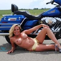 Babe in a Bikini On a Bike - Big Tits, Bikini, Blonde Hair