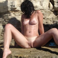 Mom of 3 on Rocks Pt 2 - Big Tits, Brunette, Nature, Shaved