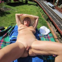 Spread Beside The Rails - Naked Blonde, Shaved