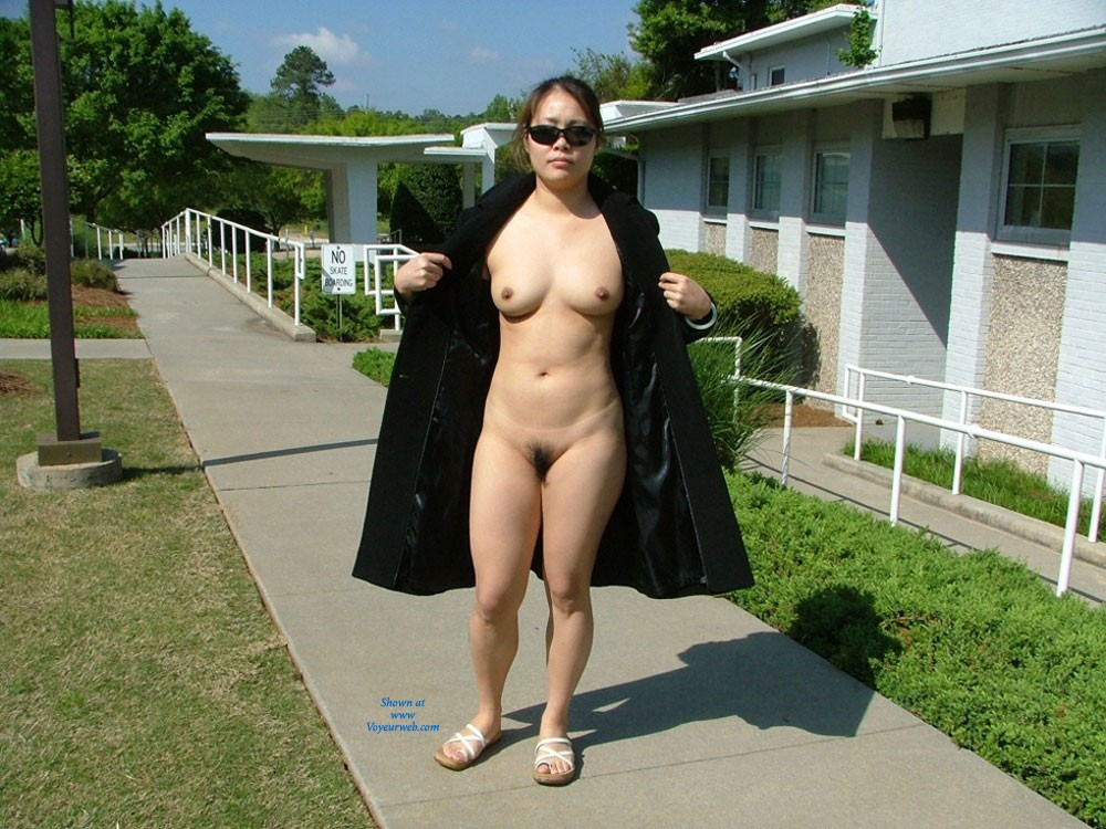 Pic #1 - Nude On The Campus - Big Tits, Brunette Hair, Exposed In Public, Hairy Bush, Nude In Public