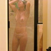 Wife In Shower - Brunette, Shaved, Wet