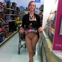 Walmart - Flashing, Public Exhibitionist, Public Place, Tattoos, Brunette, Young Woman