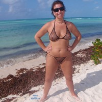 Hot Cayo - Big Tits, Bikini, Brunette Hair, See Through, Beach Voyeur