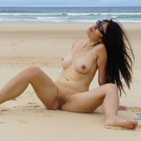 Naked Wife Playing On The Beach While Wearing her Shade as she Teases us - Asian Girl, Brunette Hair, Hanging Tits, Long Hair, Showing Tits, Beach Pussy, Beach Tits, Beach Voyeur, Hot Wife, Nude Wife, Wife/Wives